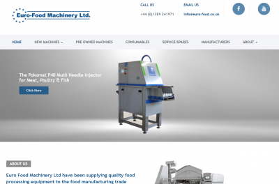 euro-food machinery's new website as designed and developed by East Anglia design in Suffolk